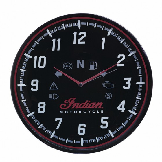 Indian Motorcycle Wall Clock Black