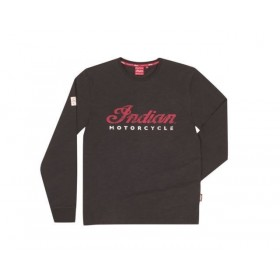 Men's Indian Black Long Sleeve Logo TEE