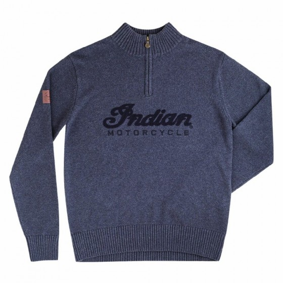 Men's Indian Logo Quarter zip Knit.